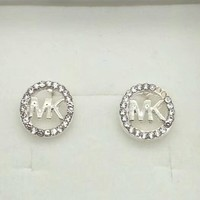 MICHAEL KORS  Fashion New Diamond Round MK Earrings Silver