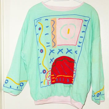 Vintage Rare 1980s PETER MAX Signature Series Pop Art Reversible Sweatshirt Face & Room
