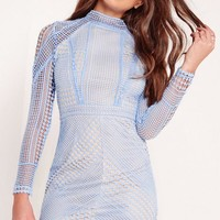 Missguided - Premium Structured High Neck Lace Mini Dress Blue