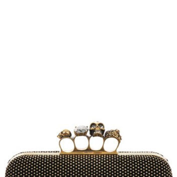 Knuckle Clasp Studded Box Clutch