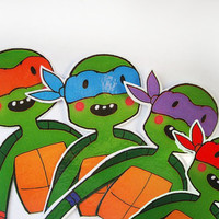 Bookmarks Teenage Mutant Ninja Turtles - set of 4 instant download Raphael printable party supplies printable art tmnt funny junk nerd gift