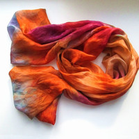 Pumpkin Silk Scarf ruffled thin Hand Dyed Orange Pale orange Wine Mist Fall SCARF for Women Mom