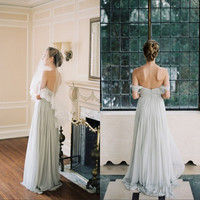 Beautiful Chiffon Beach Wedding Dress 2017 Bohemian Wedding Dresses Zipper Back Sexy Off The Shoulder Vestidos De Noiva Gowns