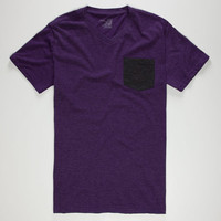 Blue Crown Mens Contrast Pocket Tee Purple  In Sizes
