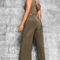 Plus Keri Slinky Wide Leg Trousers | Boohoo