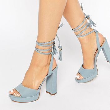 ALDO Chareri Blue Platform Sandal With Braided Ankle