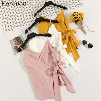 Korobov 2018 Summer V-neck Shirt Sleeveless Tops Waist Cross Lace-up Bow Tie Design Blouses Woman Sexy Irregular Shirts 35263