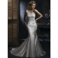 One Shoulder Natural waist Trumpet / Mermaid Satin wedding dress