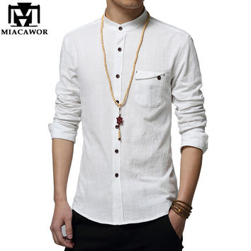 Cotton Linen Men Shirt New Stand Collar Casual Male Shirt Slim Fit Men Shirts Long-Sleeve Hombre