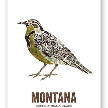 WESTERN MEADOWLARK // Montana State Bird, Art, Nature Print, Vintage Map, State Poster, Rustic, Hippie, Outdoor, Country, Reproduction Print