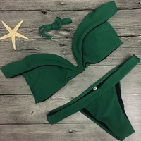 Green Off-the-Shoulder Sweetheart Bikini