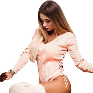 Fashion Female Long Sleeves Playsuit Hot Sexy Slim Color Leotard Jumpsuits Red Pink Side Bandage Lace-up Bodysuits