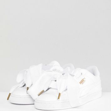 Puma Basket Heart Sneakers In Patent White at asos.com