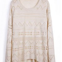 Beige Geometric Eyelet Embellished Knit Jumper Sweater