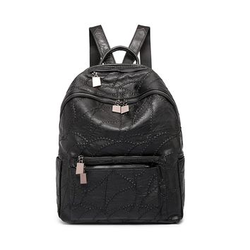 Backpack purse for women Black stitich leather knapsack shoulder bags for man