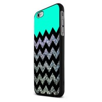 Mint Glitter Anchor Black Chevron Peterpan Custom Case for Iphone 5/5s/6/6 Plus (Black iPhone 6)