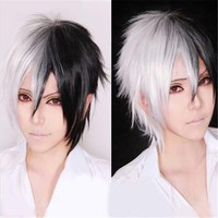 Free Shipping 32cm Short White And Black Mixed Monokuma Wig Anime Danganronpa Dangan Ronpa Cosplay Hair Cos Wigs