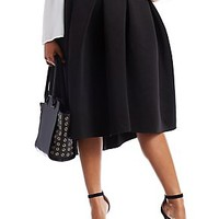 PLUS SIZE PLEATED SCUBA KNIT SKIRT