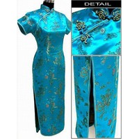 Black, Gold, Blue, Red, Light Blue Dragon Pheonix  Long Cheongsam One-piece Chinese Qipao Dress