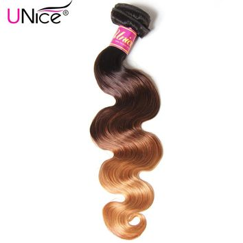 UNICE Hair Ombre Human Hair Extensions Color 1B/4/27 Peruvian Body Wave Hair Weave Remy Hair Bundles 1 Piece Can Mix Length