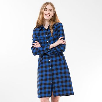 Long Plaid Shirt Dress