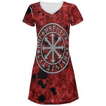 Viking Warrior Chaos Symbol Juniors V-Neck Beach Cover-Up Dress