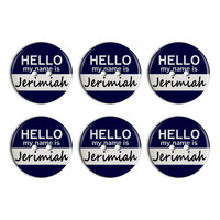 Jerimiah Hello My Name Is Plastic Resin Button Set of 6