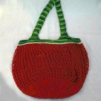Knit Market Bag, Mesh Produce Tote, Red Green Mesh Tote, Cotton Net Bag, Farmers Market Bag, French Market Bag, Beach Tote, Fishnet Tote