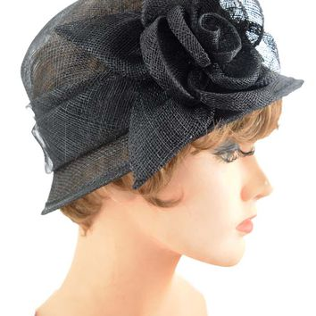 Black Sinamay Rose Accent Cloche Hat