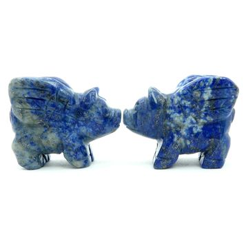 Lapis Pig 01 - Flying Pair Blue Figurine Animal Set