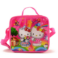 Hello Kitty Cartoon kids lunch bag cooler thermal bag insulated lunch box bag for girls with box& bottle two side