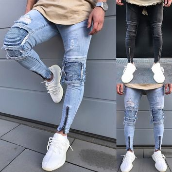 Men's Fashion Distressed Ripped Jeans Moto Black Denim PaFJKs Slim Skinny Fit Trousers