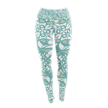 "Miranda Mol ""Swirling Tiles Teal"" Yoga Leggings"