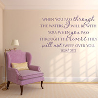 Scripture Wall Decal. When You Pass Through The Waters - CODE 175