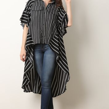 Striped Oversize High-Low Button Up Top