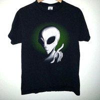 1995 Vintage ALIEN TSHIRT Glow in the Dark shirt Space Science ufo Soft Grunge Size Medium