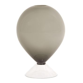 Opaque Smoke Gray Glass Balloon Vase Small