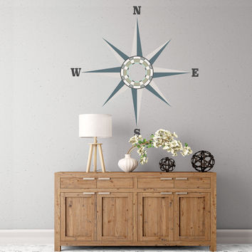 Large Neutral Nautical Compass Wall Decal, Eco Friendly Removable and Reusable Fabric Wall Sticker