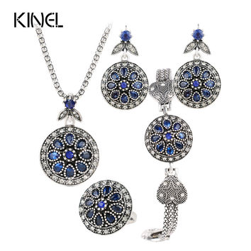Charm Sapphire Jewelry Set Round Crystal Flower Earrings /Bracelets/ Pendant Necklace / Ring For Women Vintage Turkish Jewelry