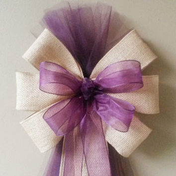 Burlap and Plum Eggplant Tulle Pew Bow, Burlap Pew Bow, Wedding Pew Bow, Bridal Shower Bow, Anniversary Bow, Wreath Door Decoration