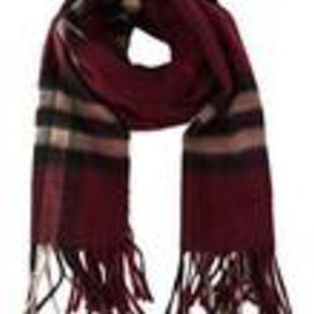 Burberry Women's Men's Burgundy Red 100% Cashmere Giant Icon Classic Scarf