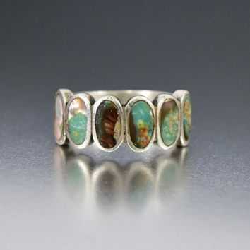 Vintage 925 Sterling Silver Turquoise Six Stone Wide Band Ring