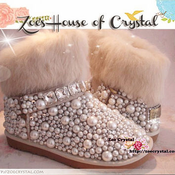BLACK FRIDAY Sales 20% off - Winter Promotion Bling and Sparkly White Rabbit Fur SheepSkin Wool BOOTS w shinning Crystals and Pearls