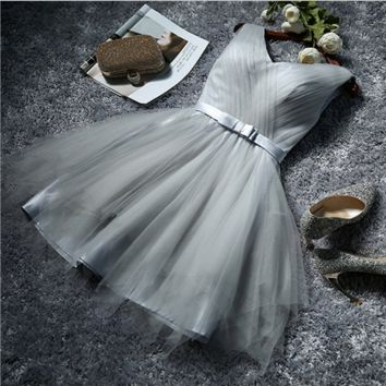 Bridesmaid dresses the new silver bridesmaids group dress sisters skirt short paragraph Slim bride evening dress