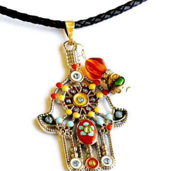 Best hamsa hand painting products on wanelo large hamsa braided leather necklace hand painted pendant hand of fatima jewelry mozeypictures Image collections