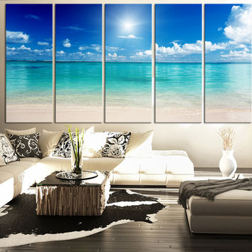 LARGE CANVAS ART  Print Sea and Beach - Art Canvas Print for Home Decoration, Large Seascape Beach Canvas Prints - MC88