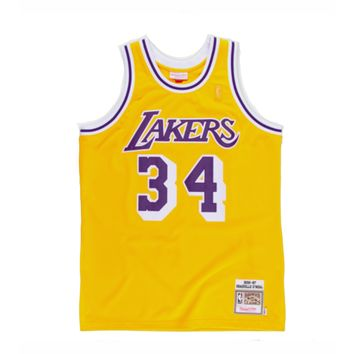 NBA Mitchell & Ness Shaquille O''Neal Los Angeles Lakers 1996-97 Throwback Authentic Jersey