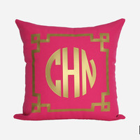Gold Monogram Throw Pillow Cover - Gold, Silver, and More - Chinoise Greek Monogram Pillow Sham - Fuchsia