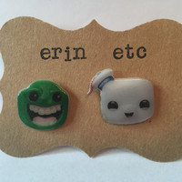 Handmade Plastic Fandom Earrings - Ghostbusters - Slimer & Stay Puft