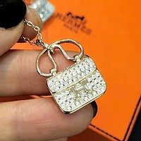 Hermes Cute Women Chic Diamond Bag Type Necklace Accessories Jewelry Golden
